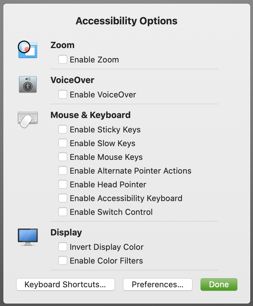 Accessibility Options Mac Shortcut
