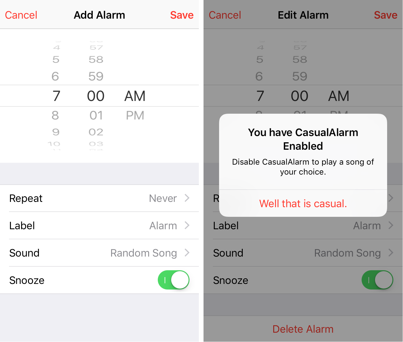 CasualAlarm Clock App
