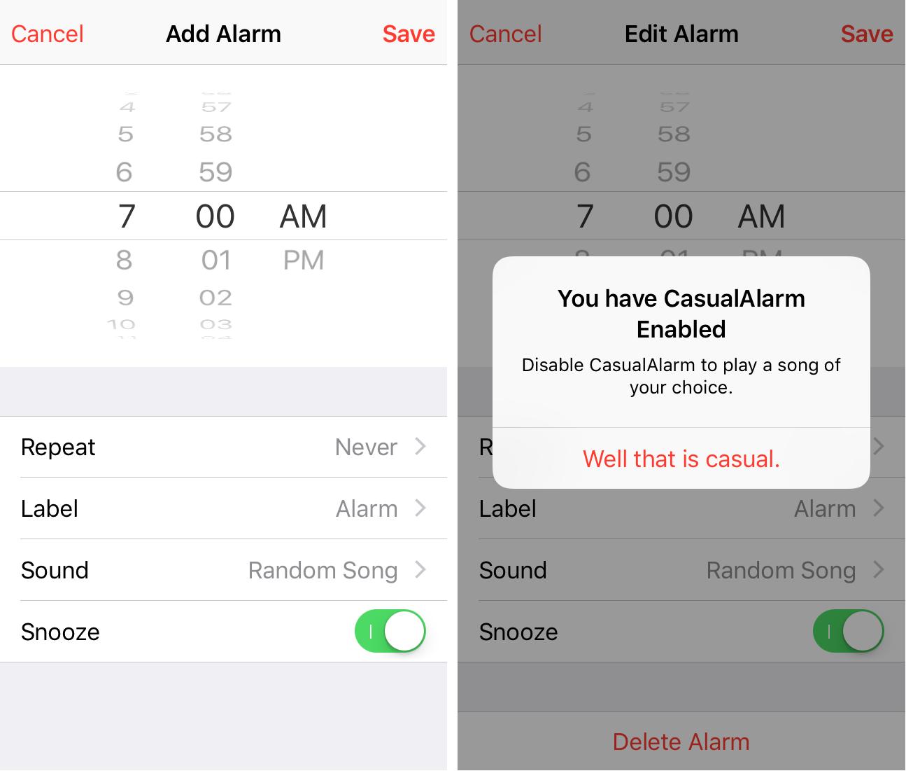 CasualAlarm Clock App