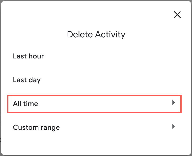 Google Delete Activity By All Time