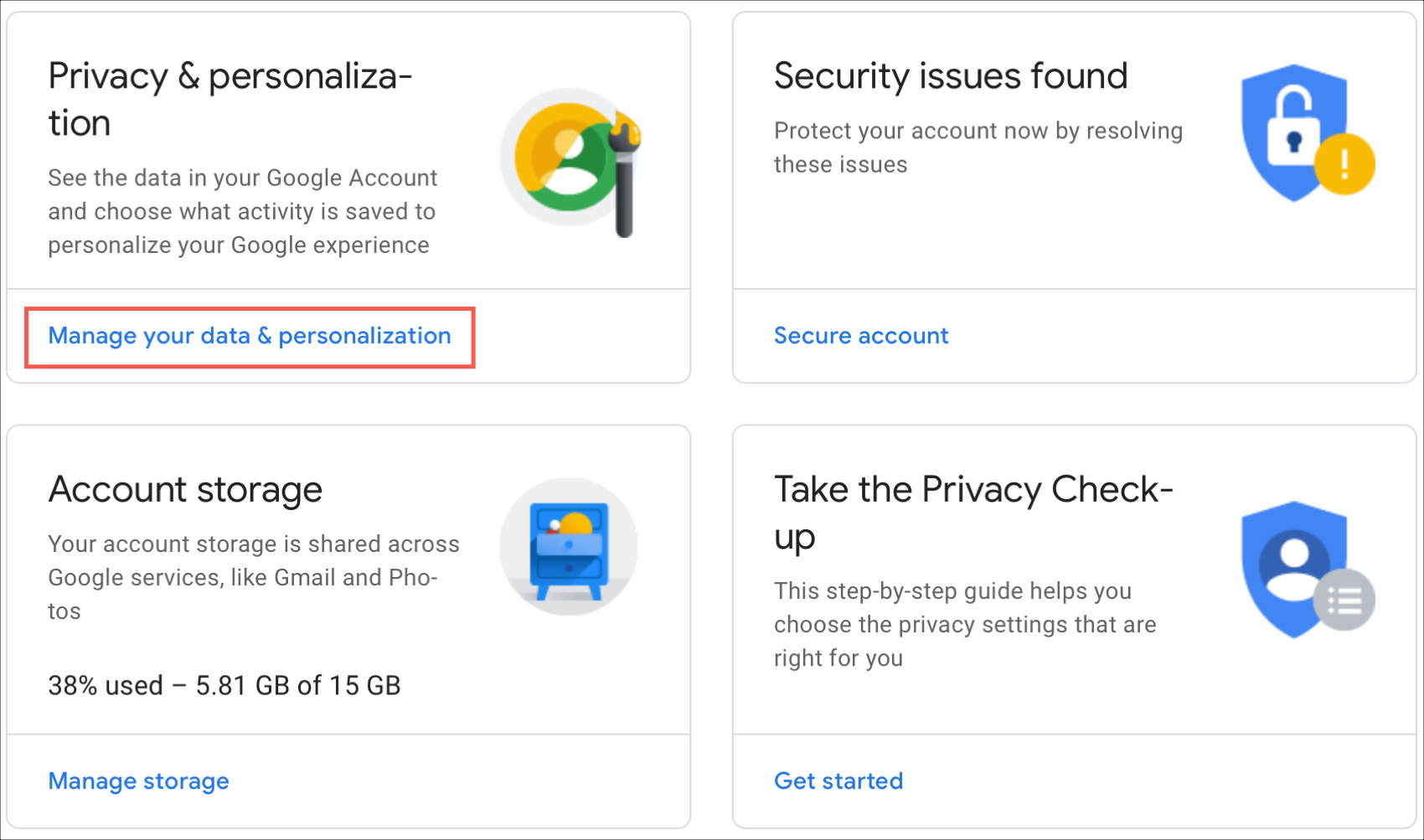 Google Manage Data Personalization