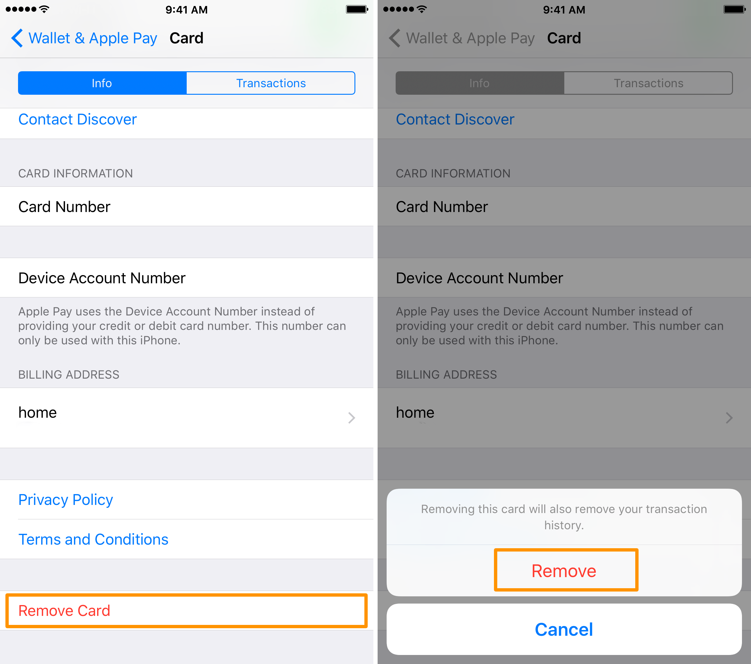Remove Apple Pay credit card from iPhone