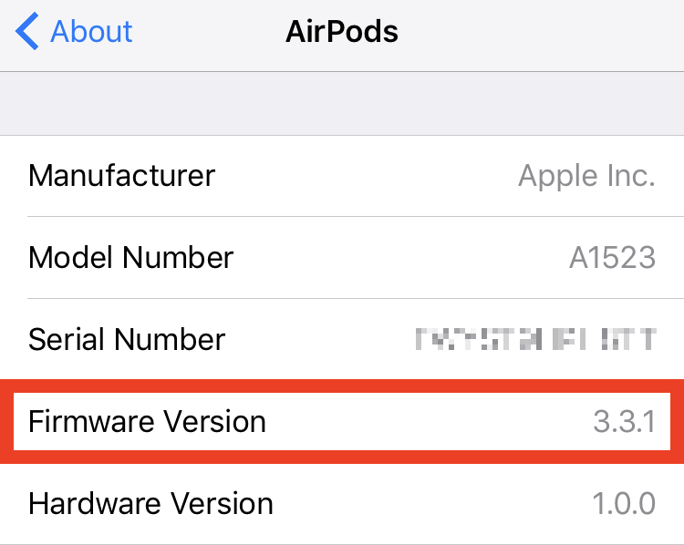 AirPods firmware version
