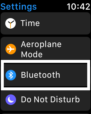 Bluetooth settings on watch