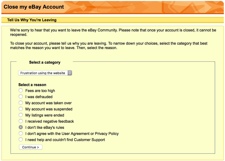 wie ebay konto löschen