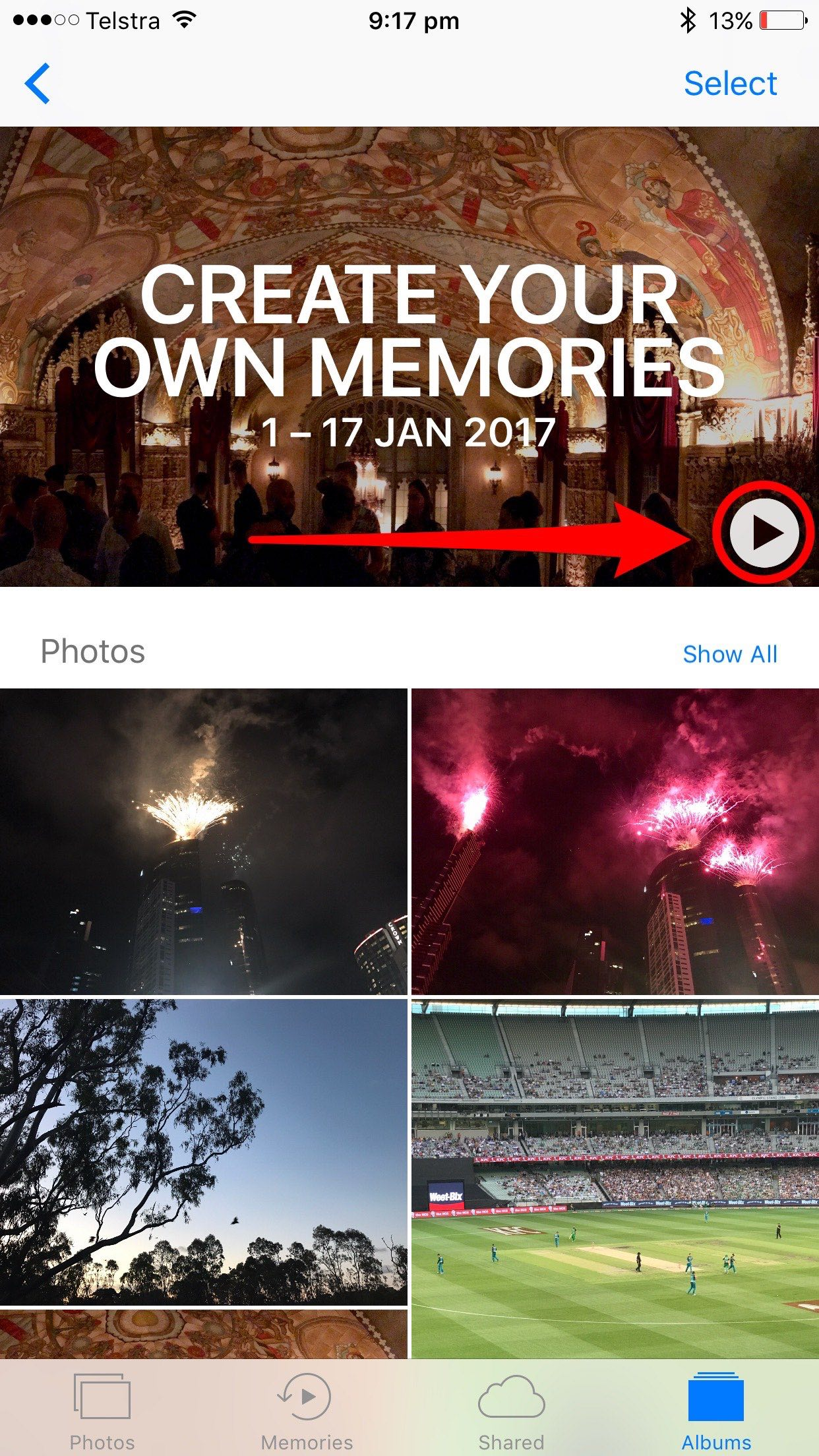 Memories from curated photos on iPhone