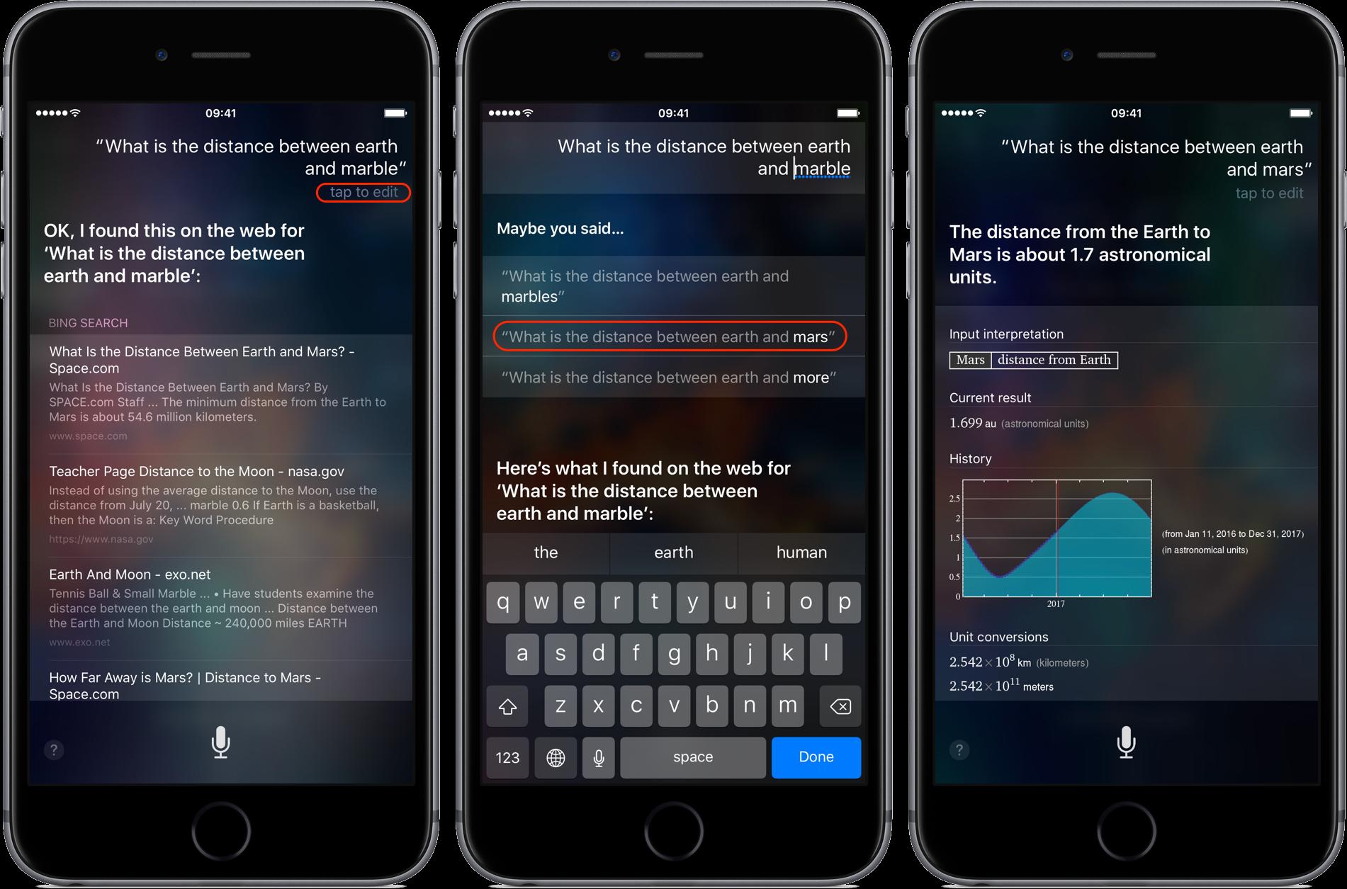Sugerencias de Siri para consultas mal escritas