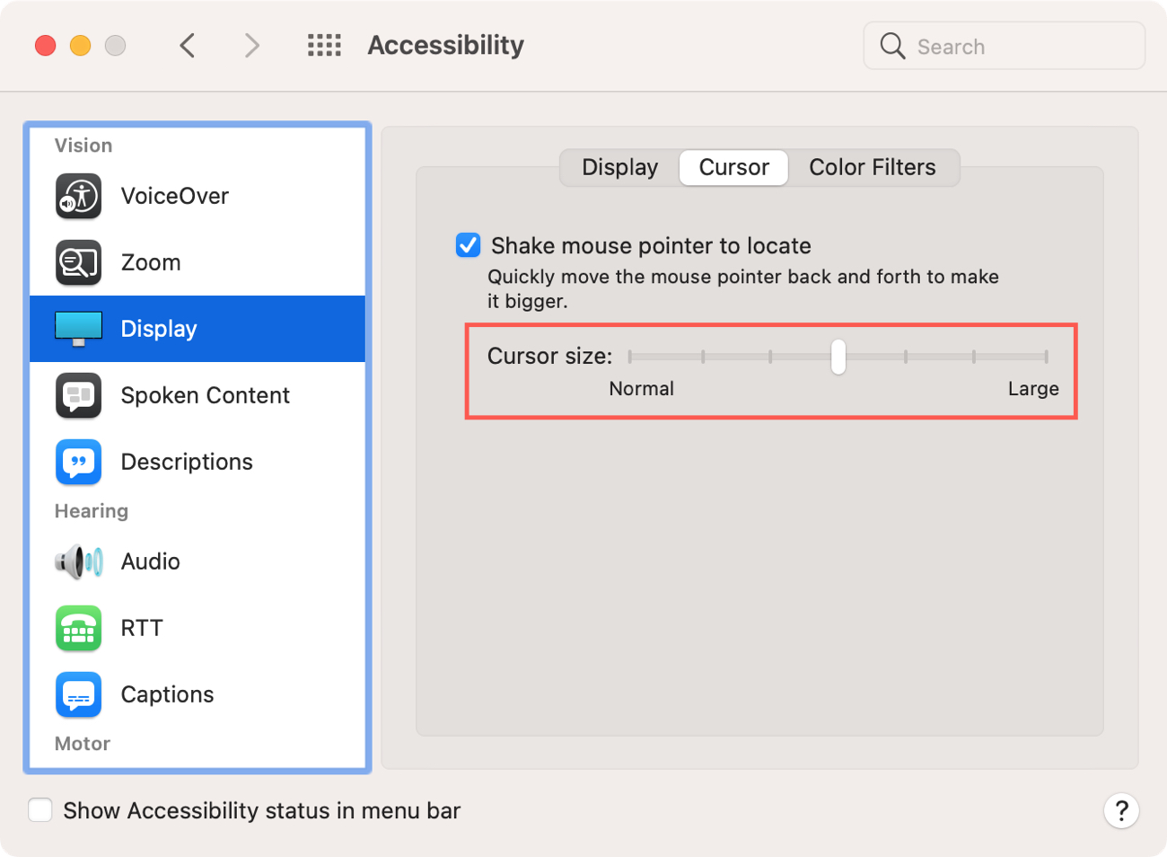 Accessibility Cursor Size on Mac