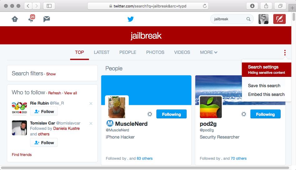 Configuración de búsqueda de Twitter
