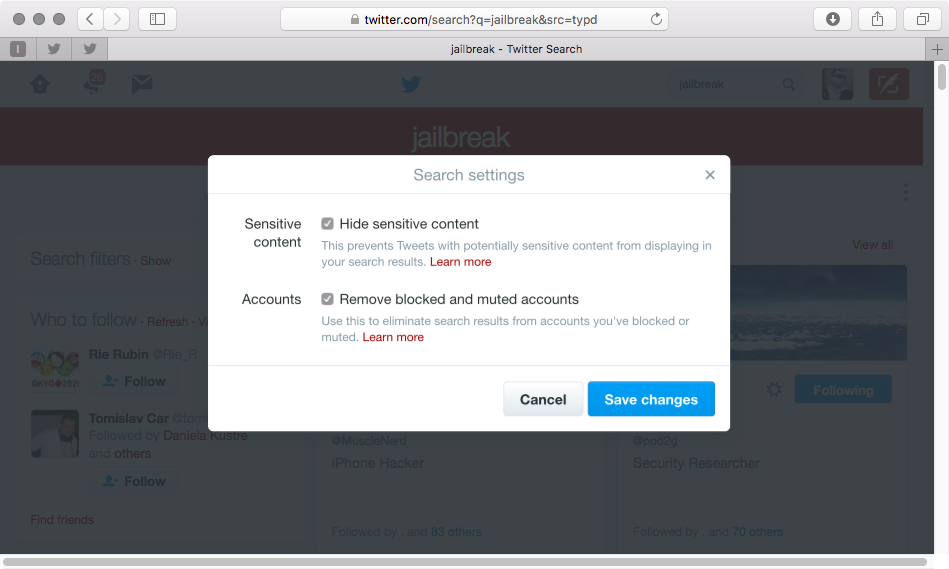 Ocultar contenido confidencial en Twitter