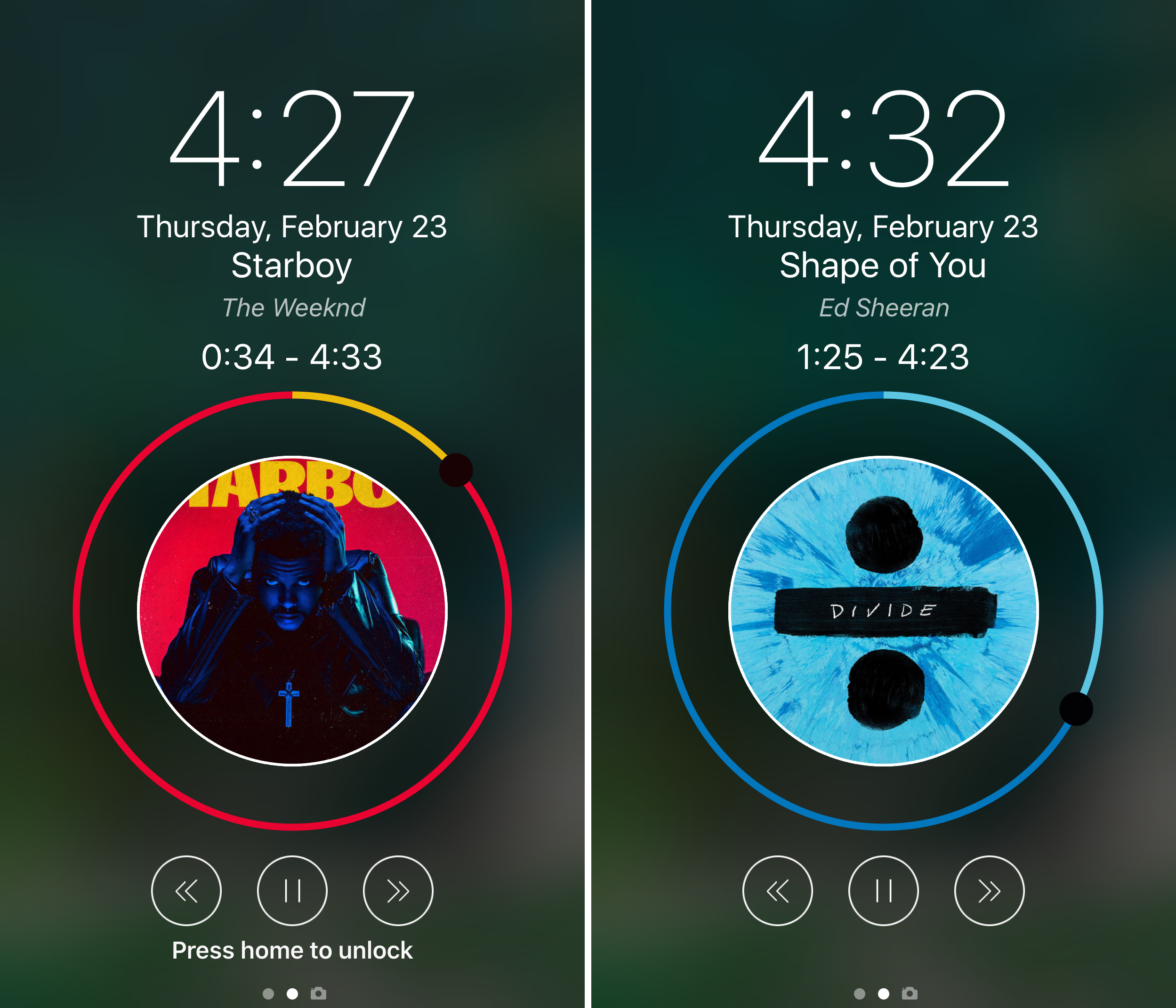 This tweak takes a circular approach on Lock screen music