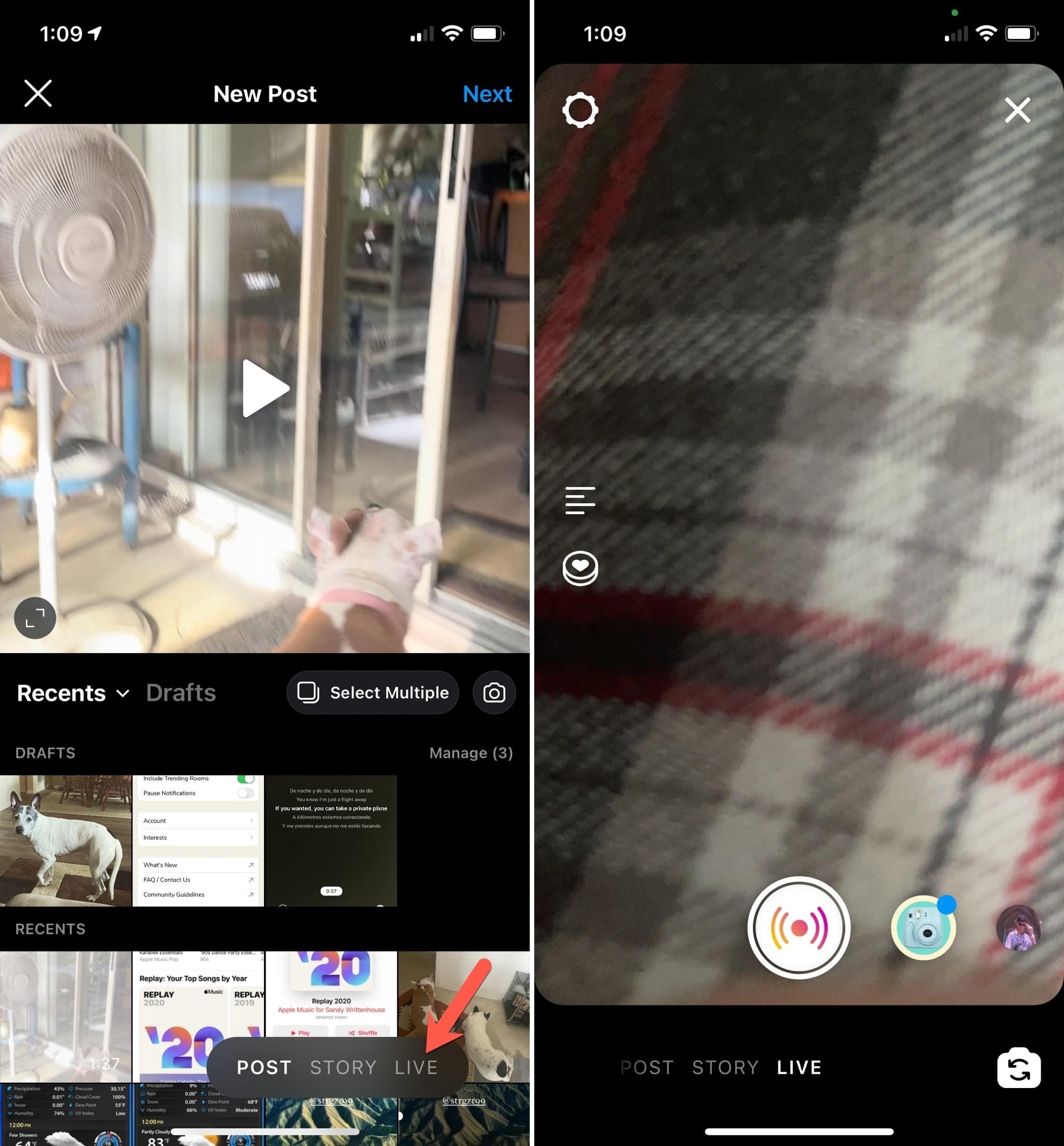 Start Live Broadcast on Instagram
