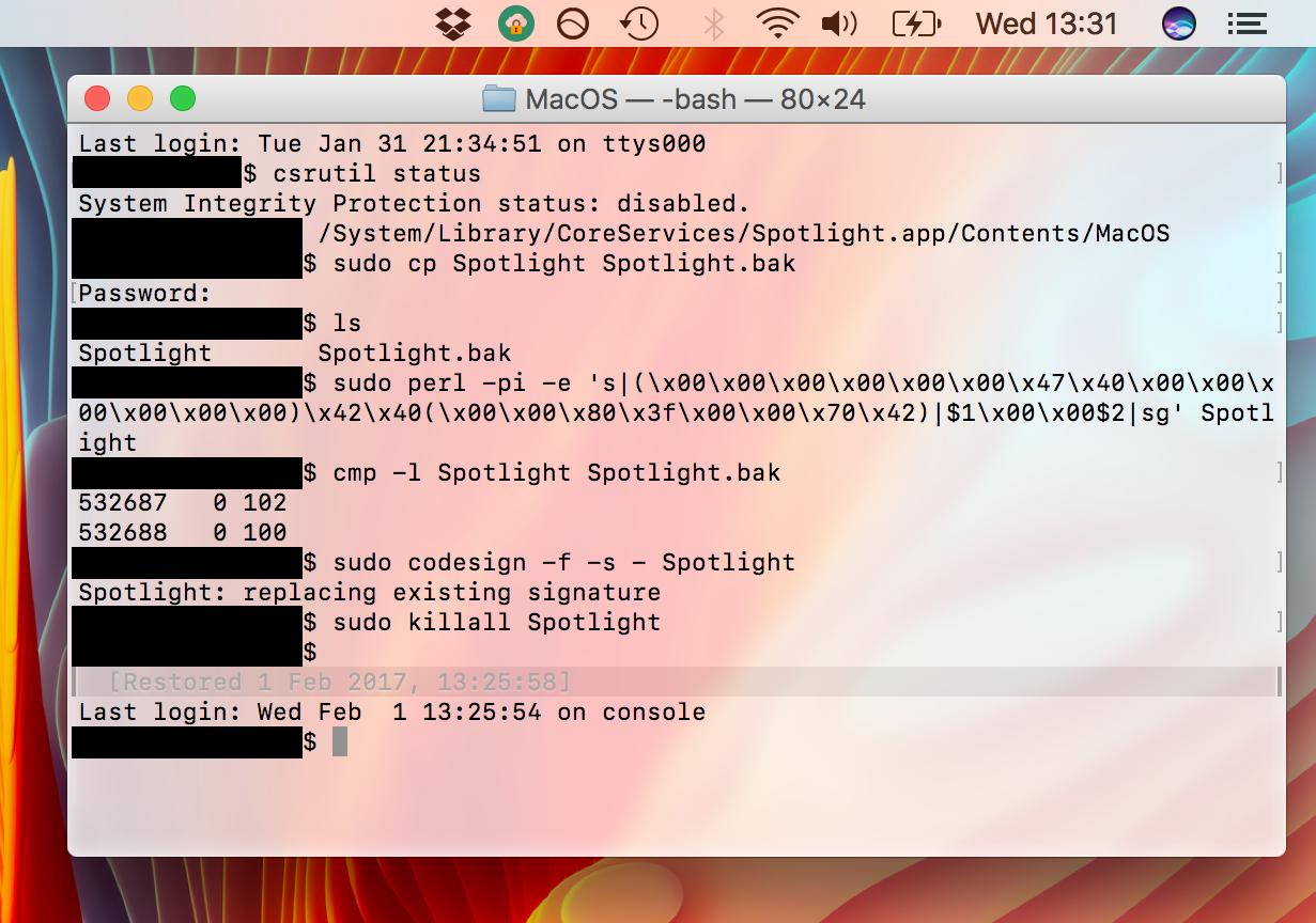 Ocultar el icono de Spotlight en la barra de menú de Mac con Terminal