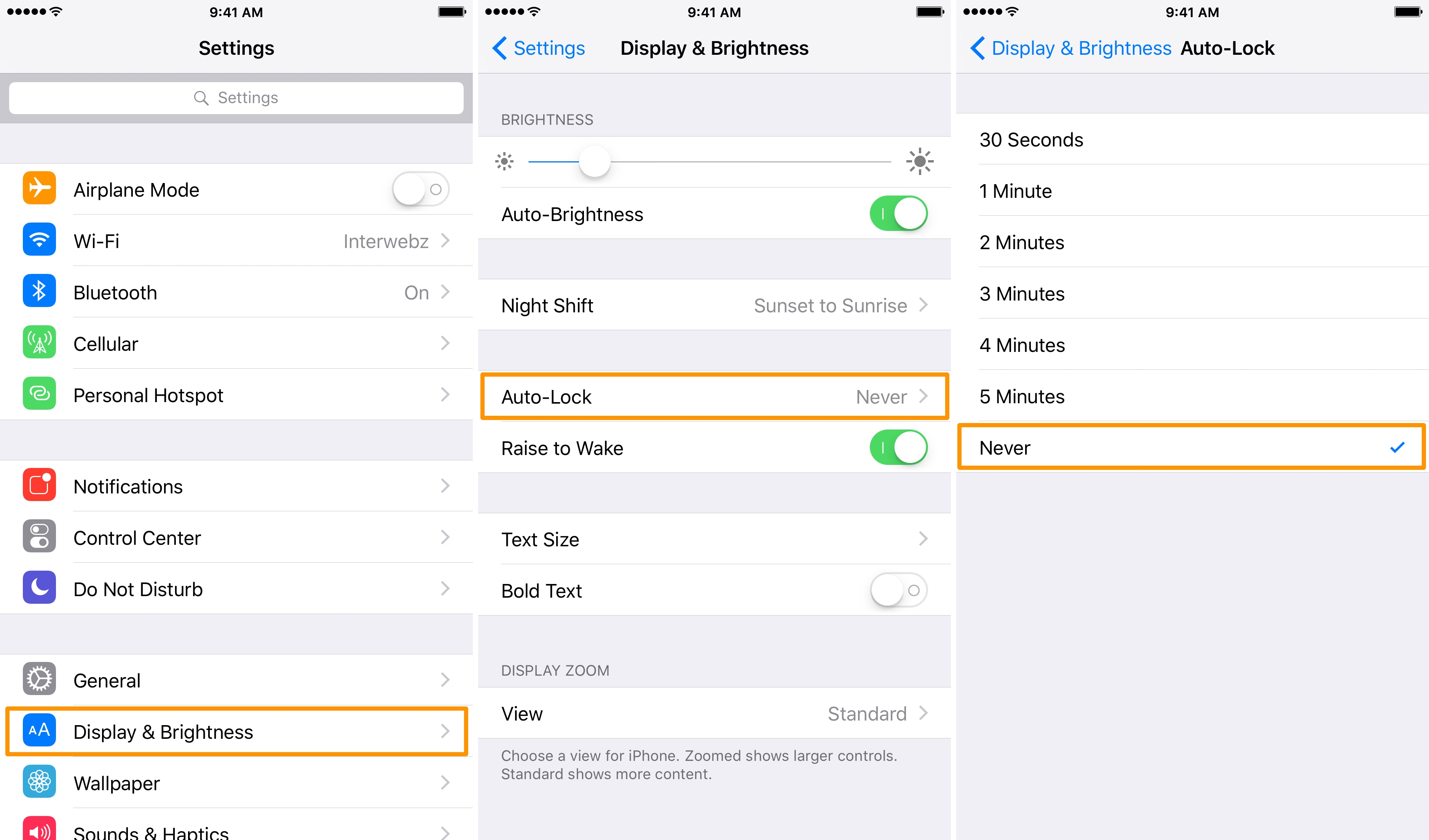 Setting to prevent iPhone screen from turning off