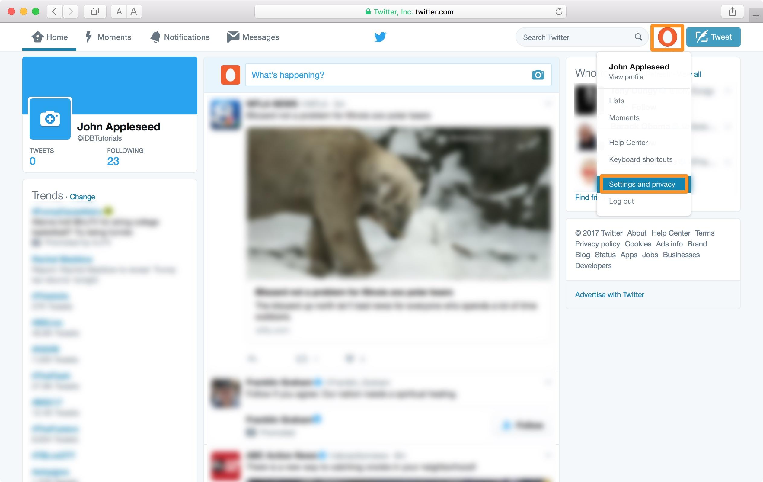 Configuración del sitio web de Twitter