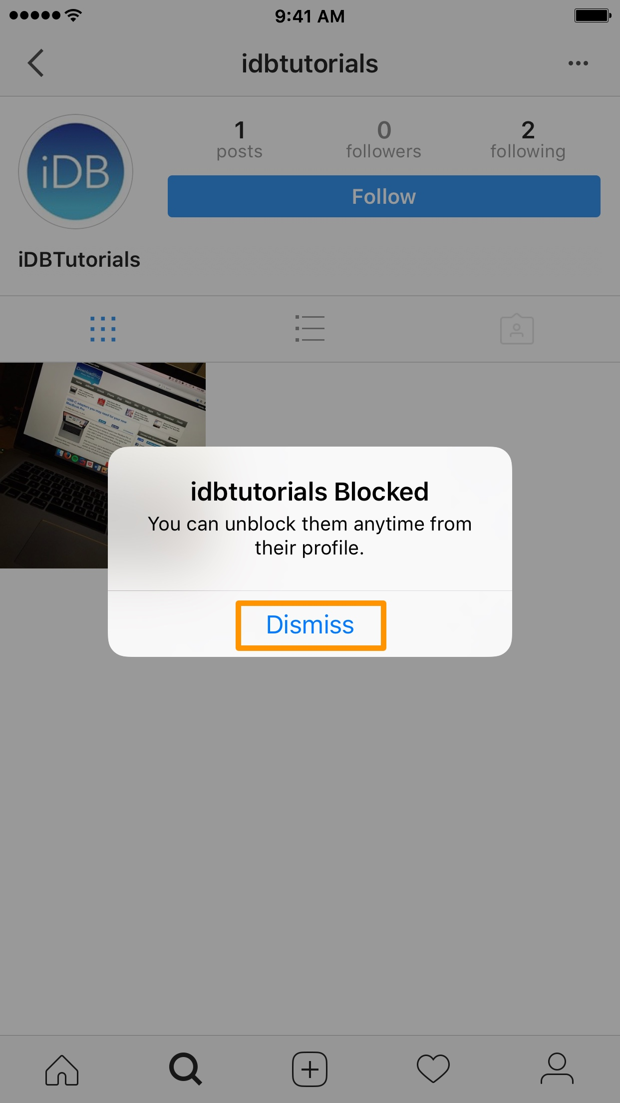 Blocked Instagram user