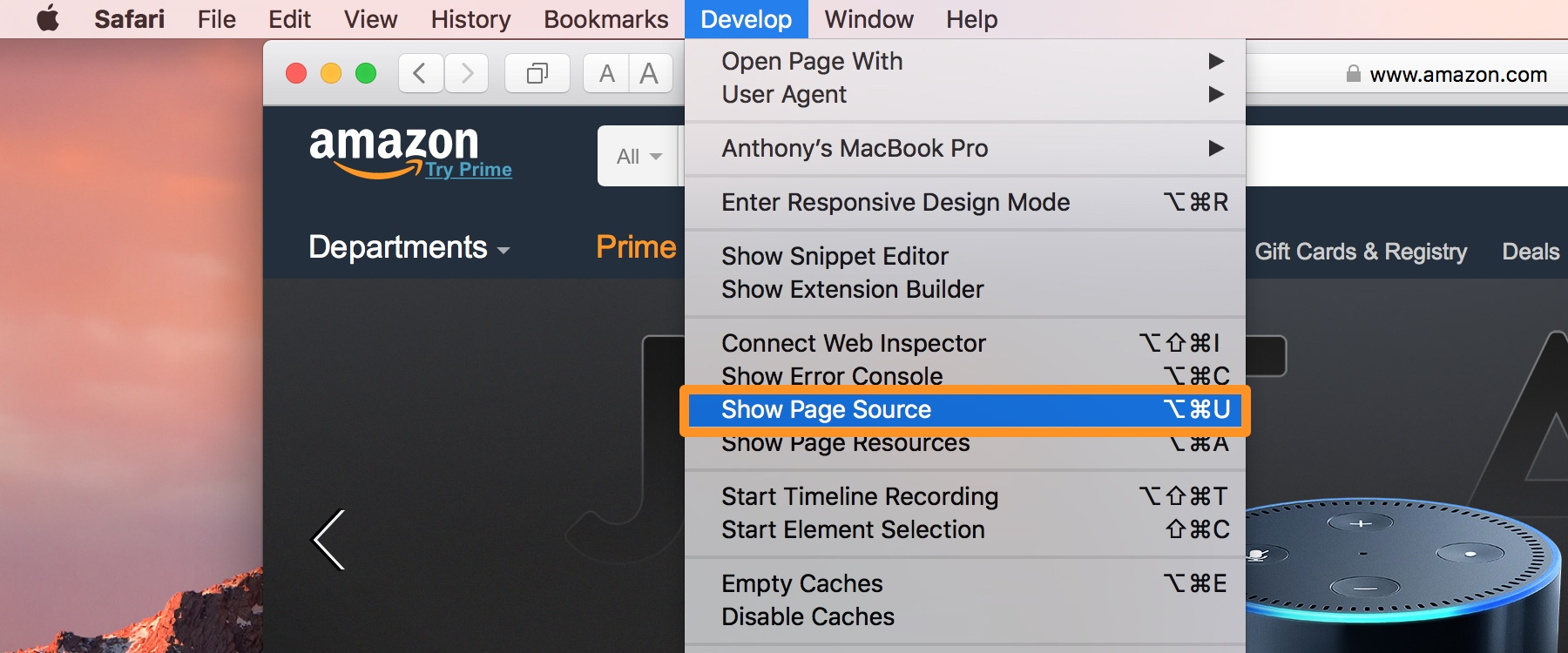 Show page source in Safari for Mac