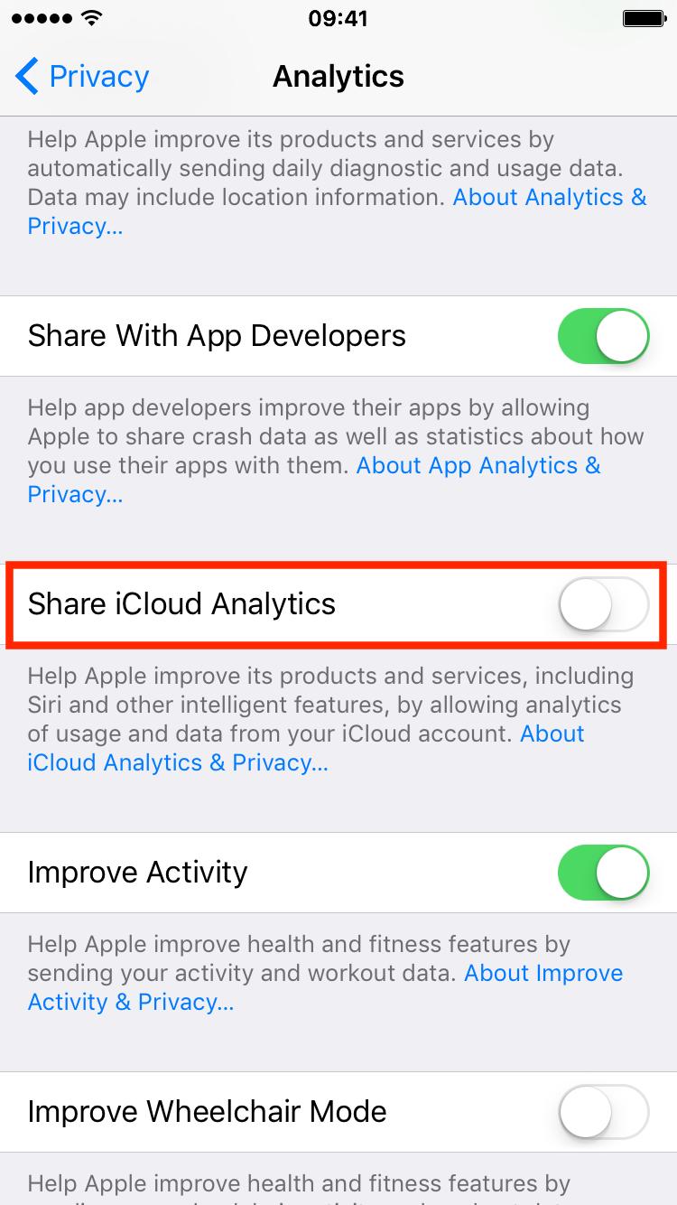 Compartir análisis de iCloud