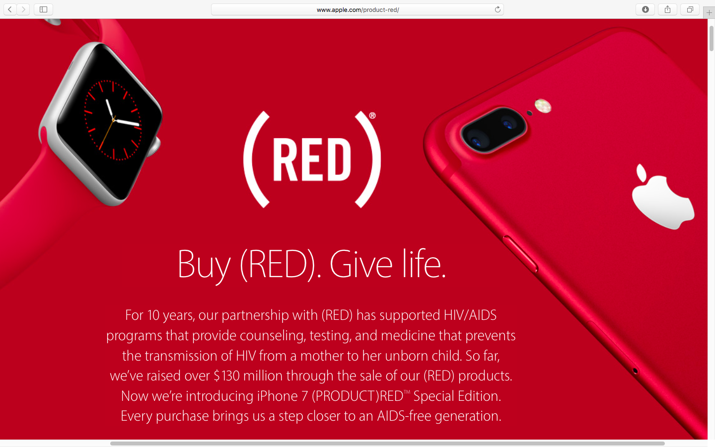 iphone apple contributions plus topped million special edition se march announcements productred web screenshot apples