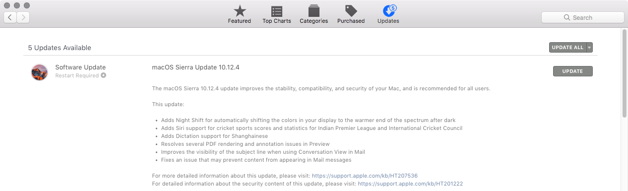 macOS Sierra 10.12.4 with Night Shift for Mac launches