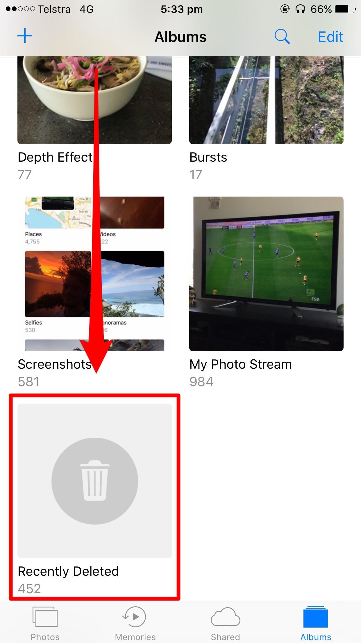 Recently deleted photos album
