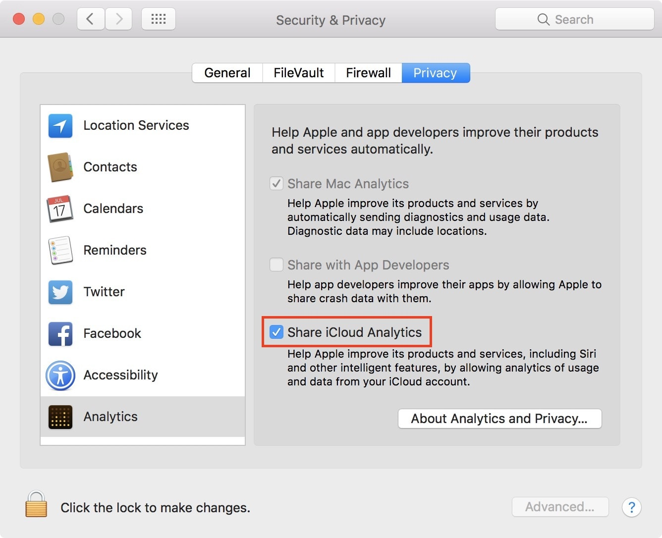 Share iCloud analytics on Mac