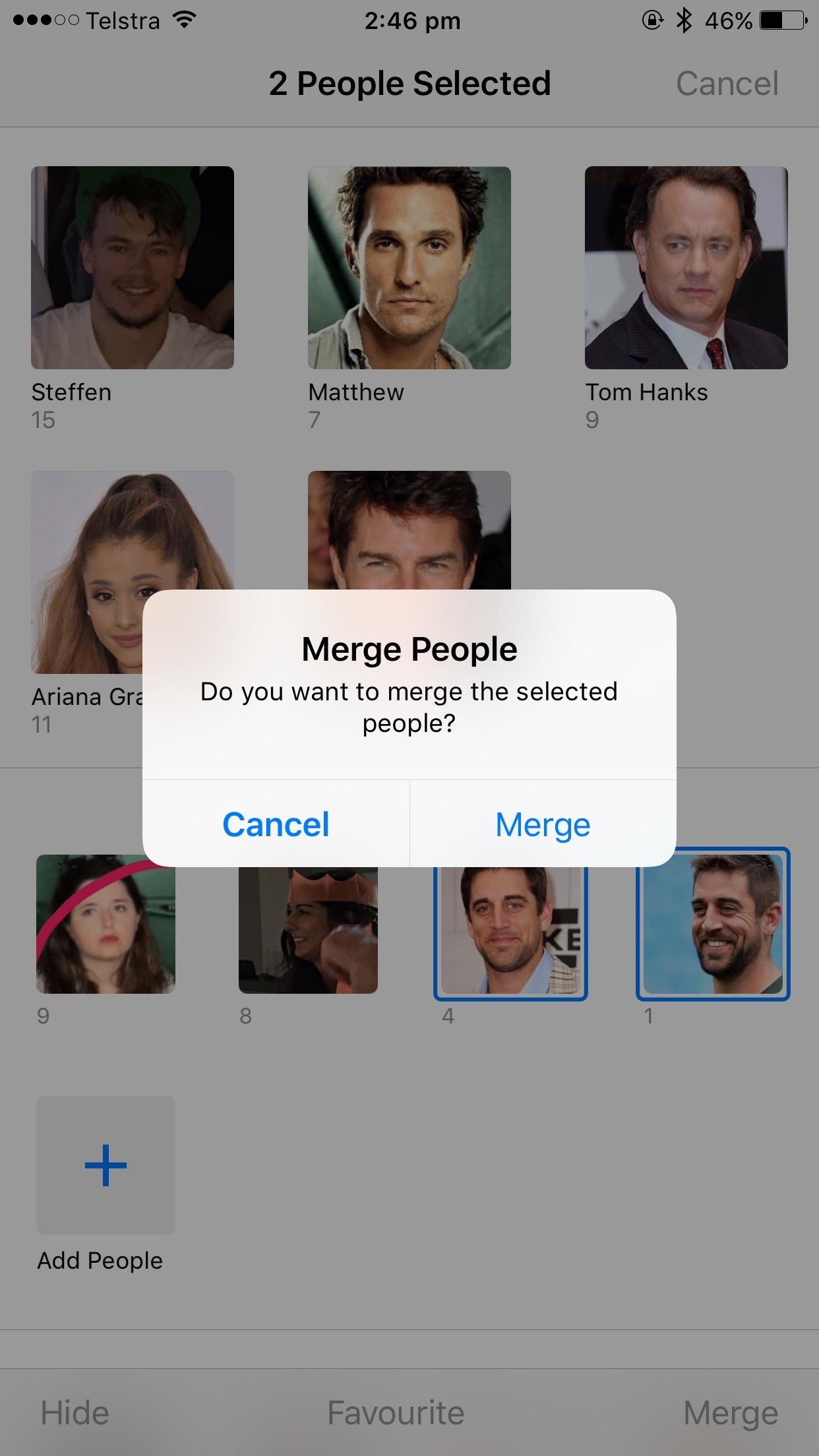 Confirm merging people