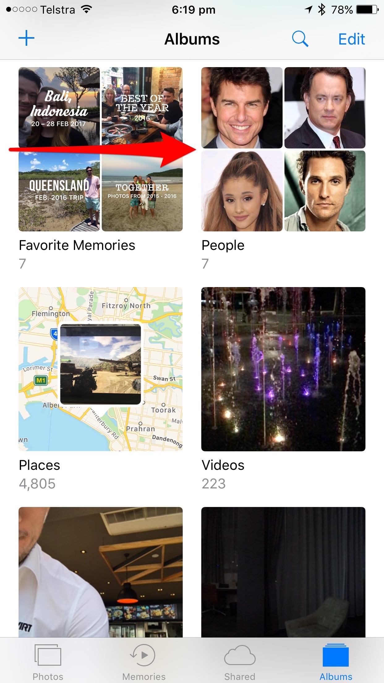 People album in Photos app