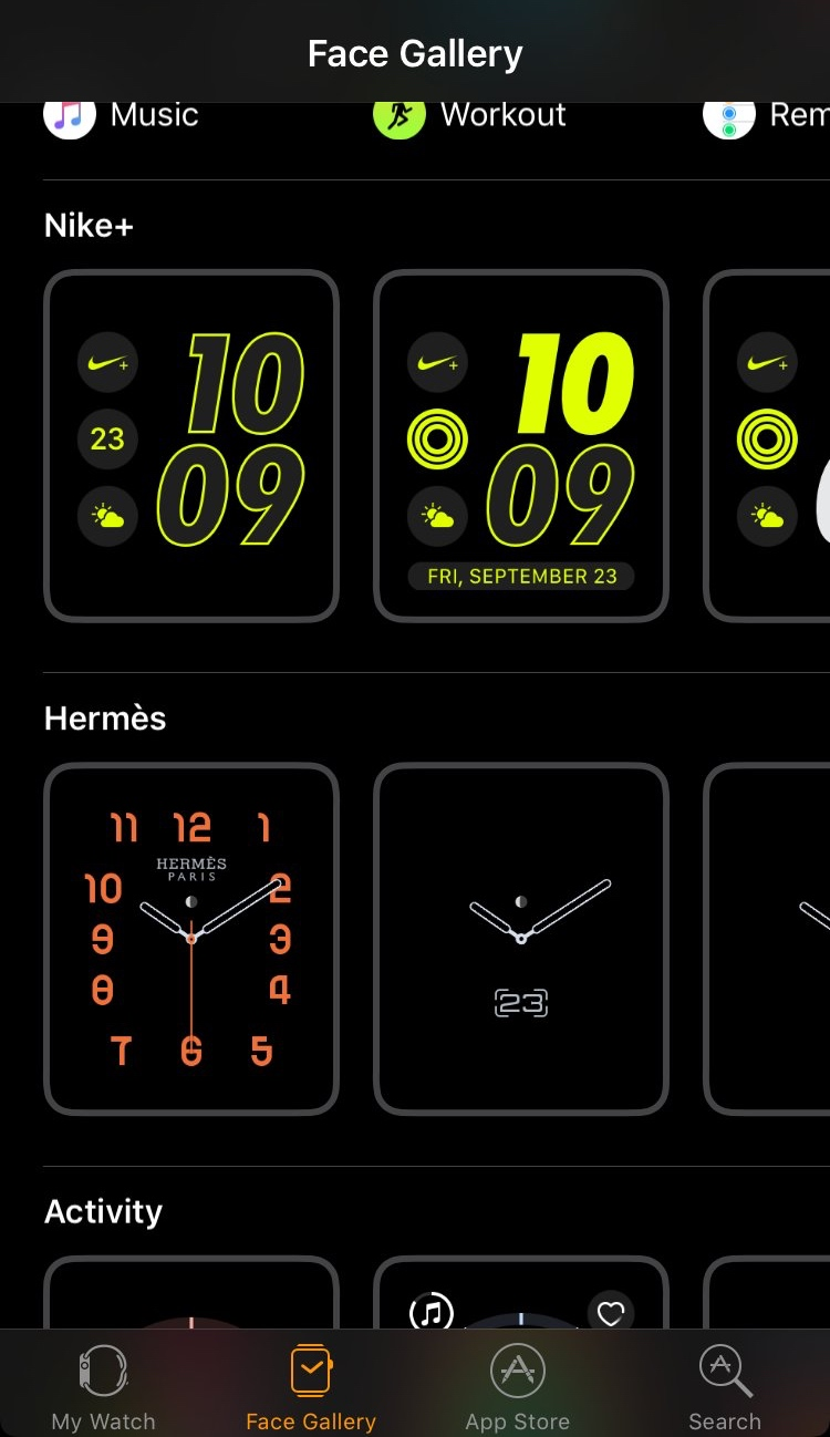 Apple Watch Nike and Hermes Faces