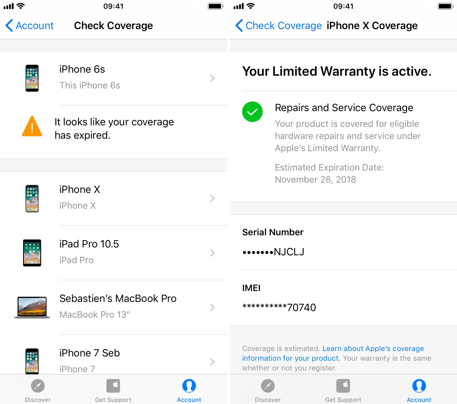 Check warrranty coverage with Apple Support app