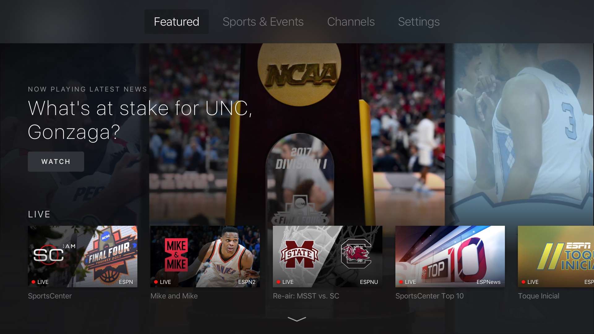 ESPN releases revamped Apple TV app with on-demand content, live