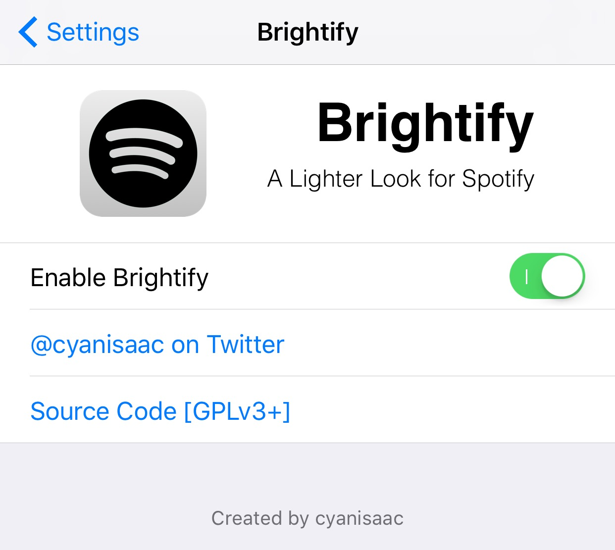 Brightify gives the Spotify Music app a white makeover