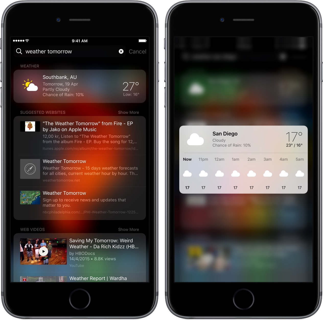 Get weather and forecast in search