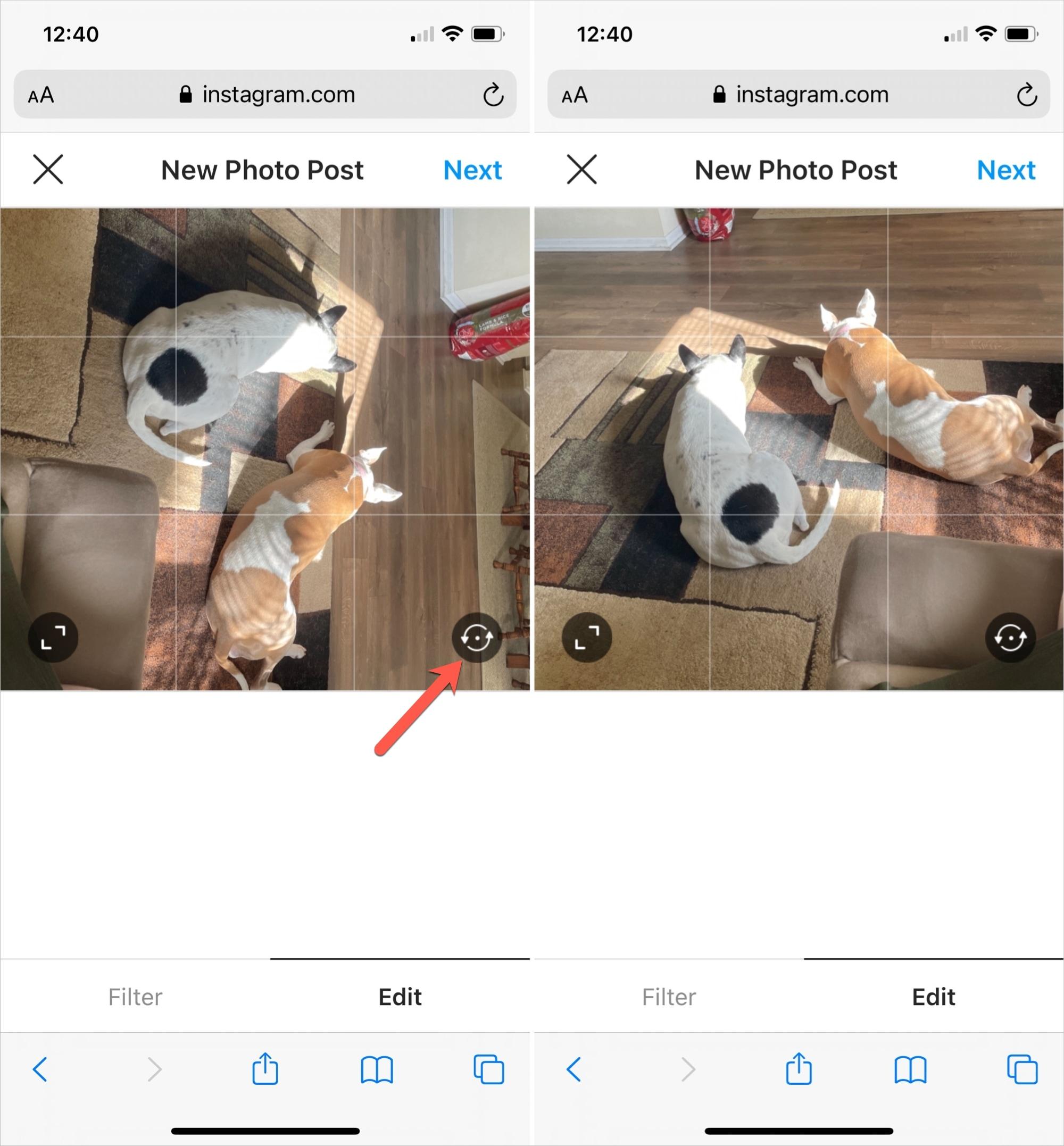 Rotate Photo on Instagram in Safari on iPhone