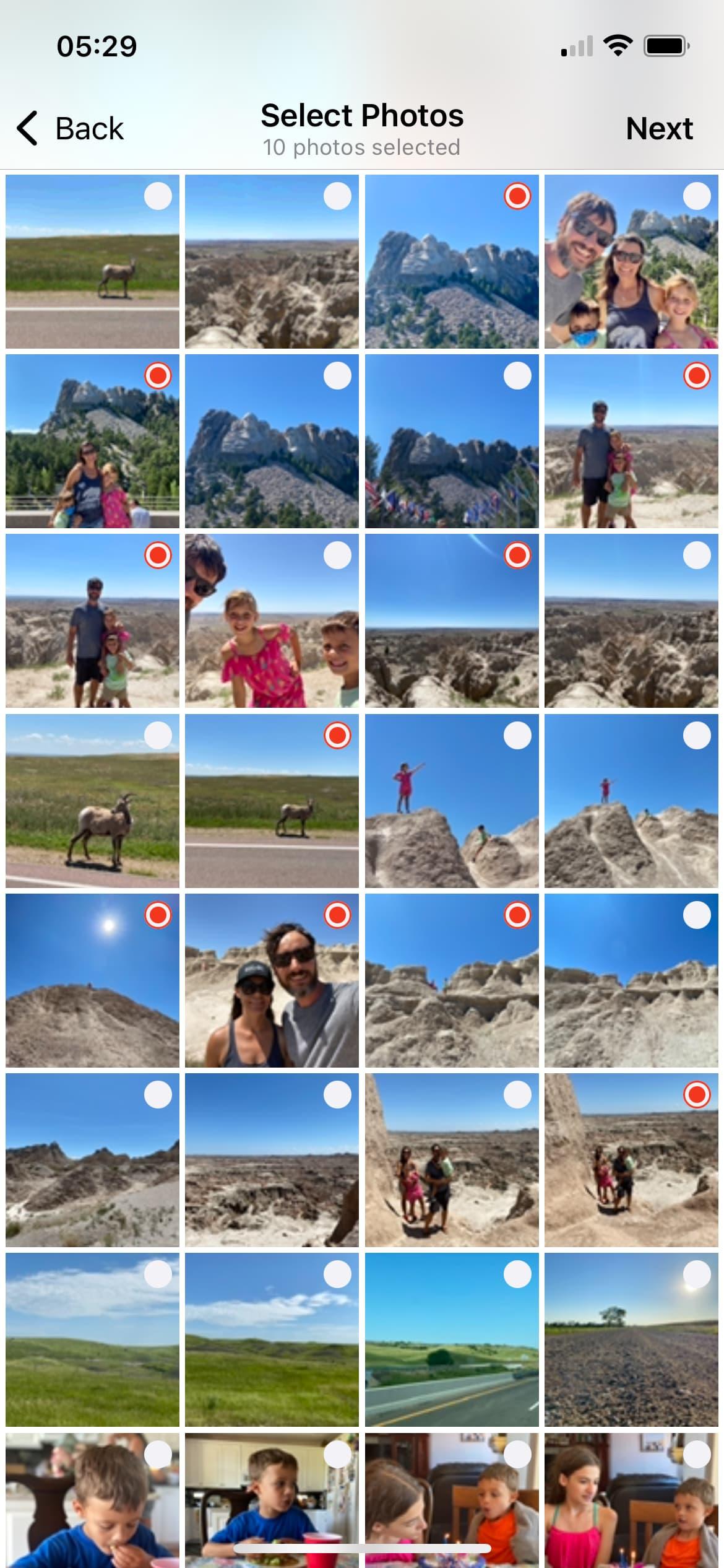 Select photos to convert