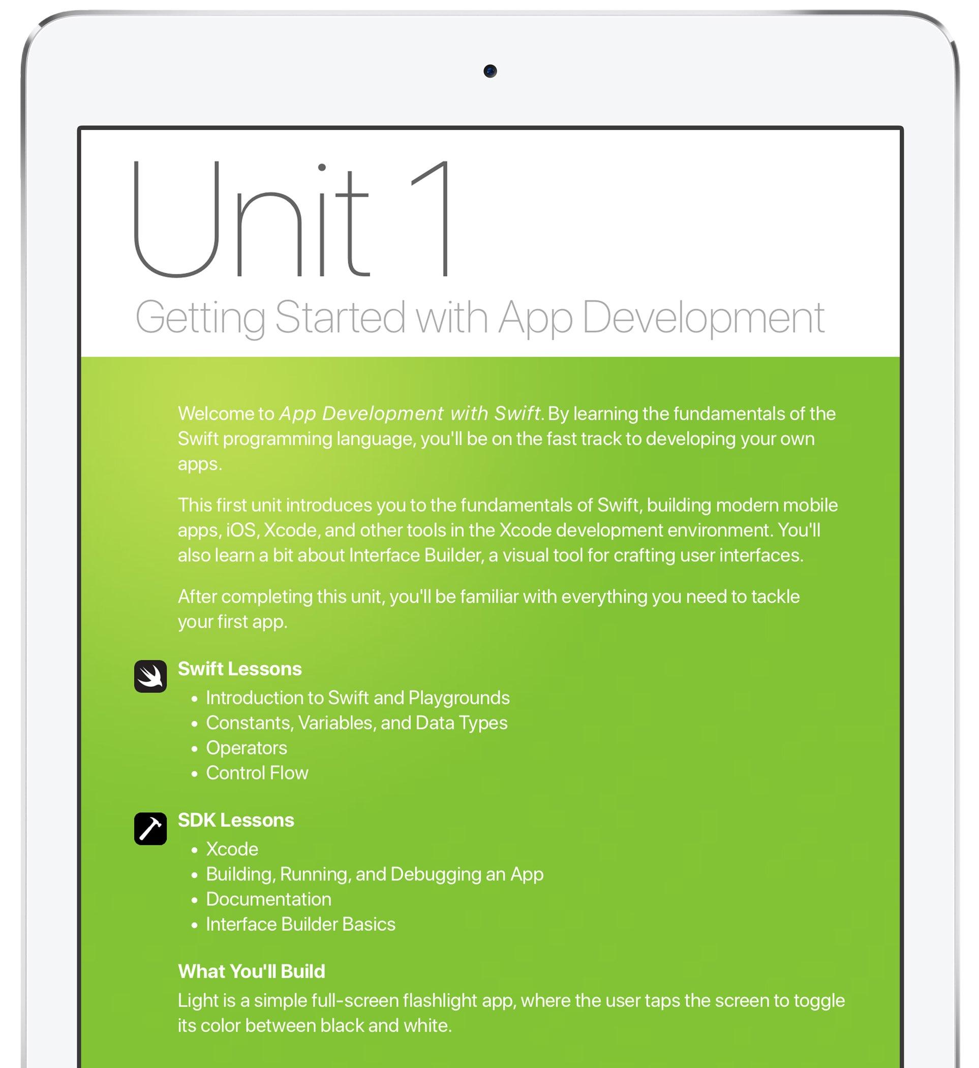 Download Apple's new Swift app development curriculum from