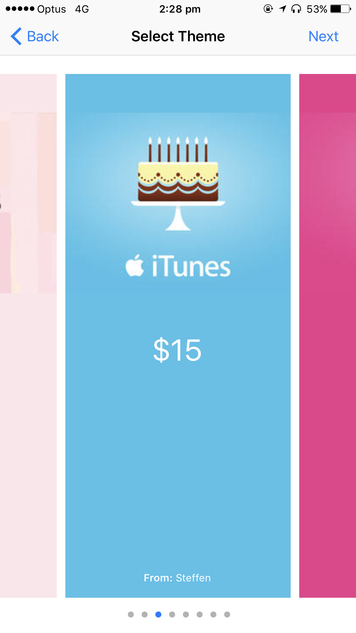 gift itunes credit theme