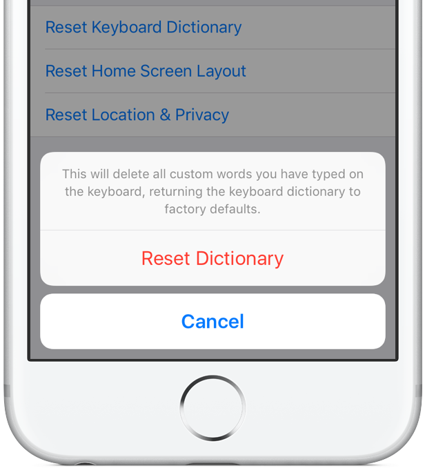 reset dictionaries