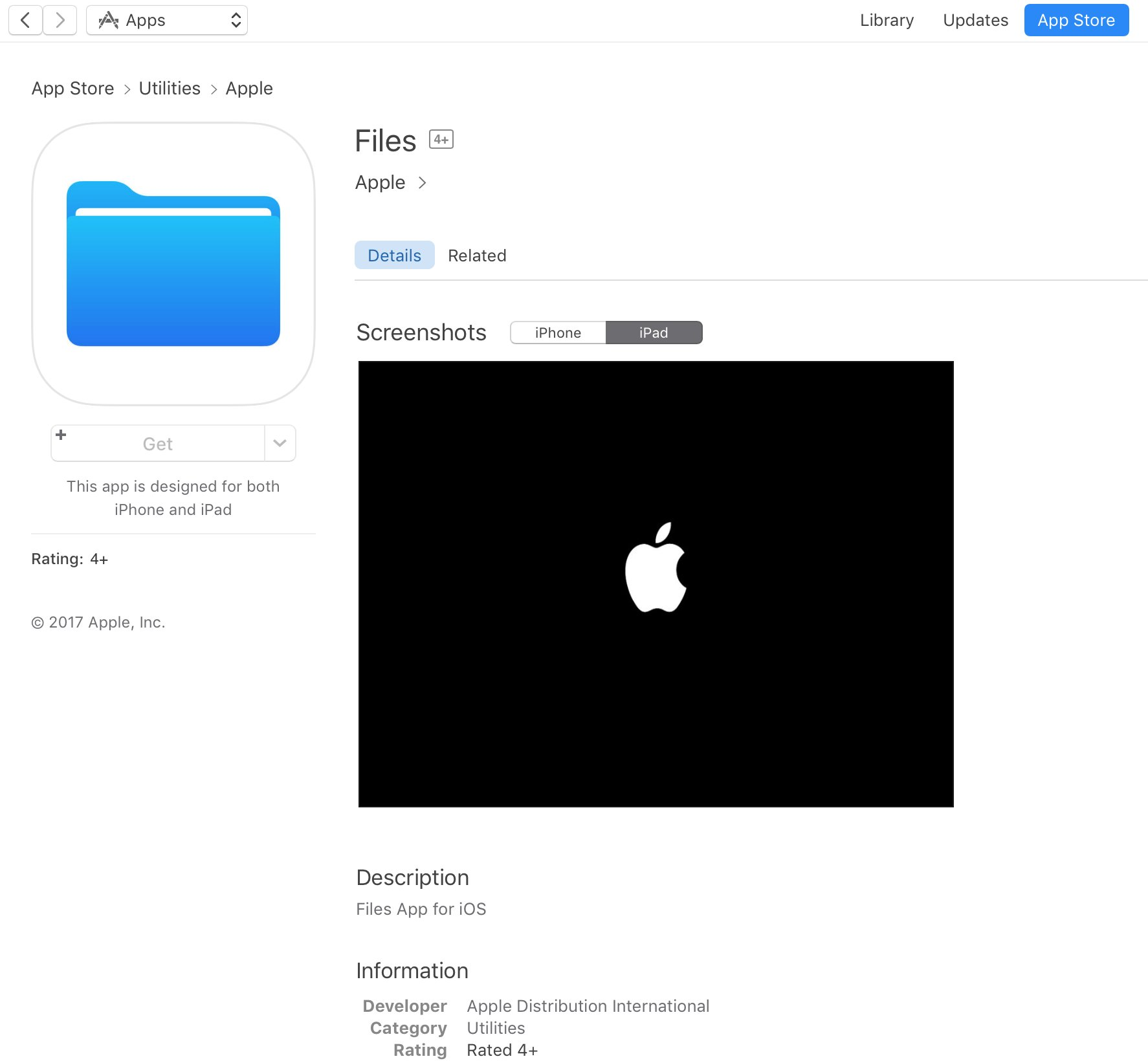 App Store placeholder listing for Apple Files app appears