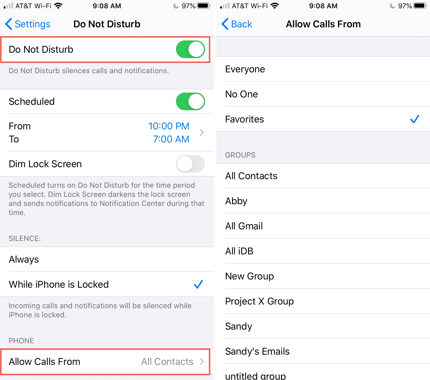 DND Allow Calls From Favorites iPhone