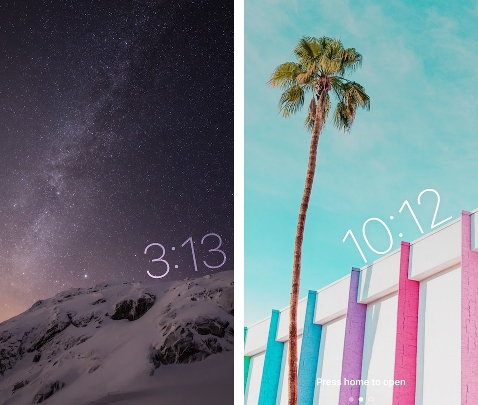 TimeMover offers creative tools for moving and rotating your Lock screen clock