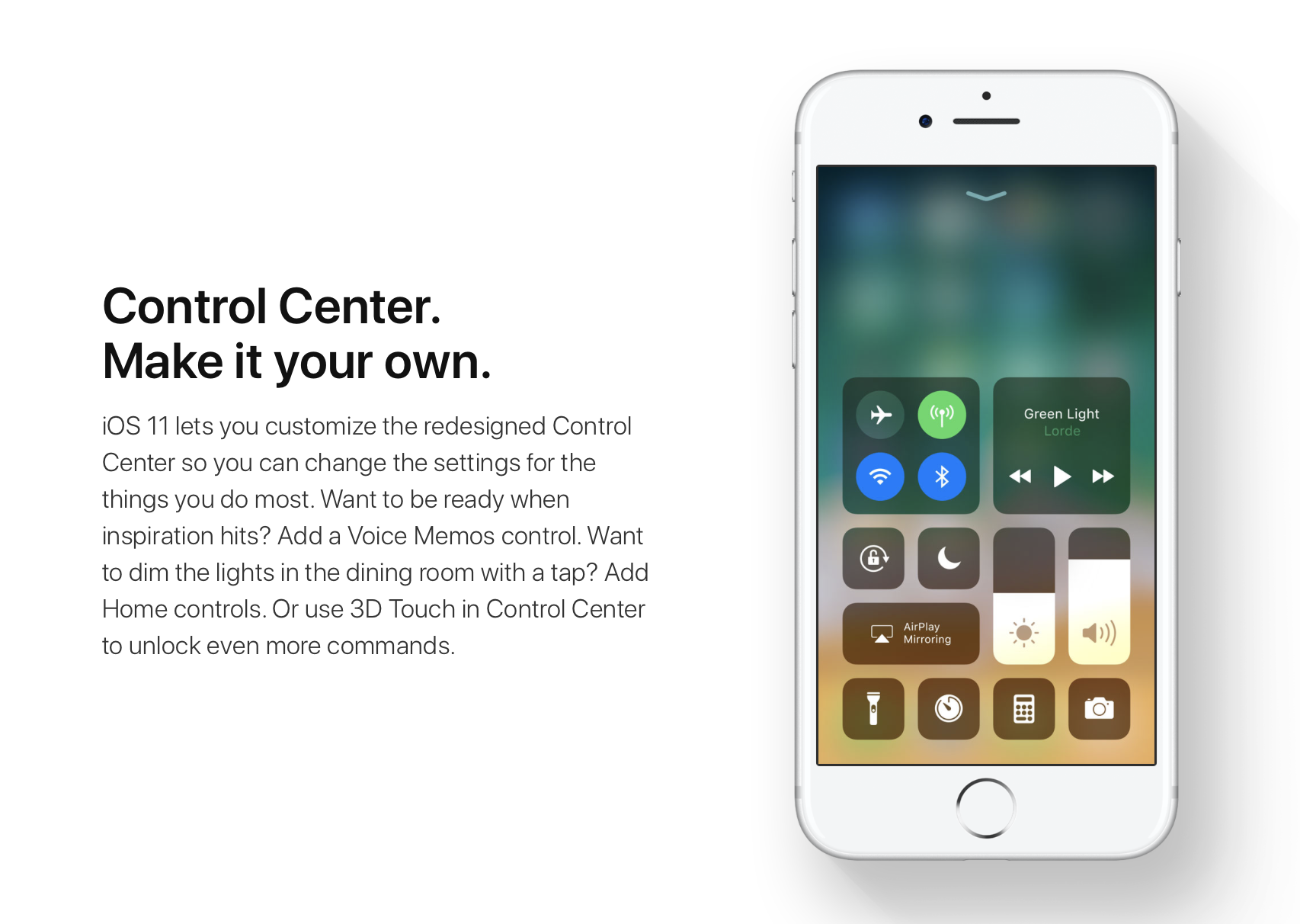 customize control center ios 11