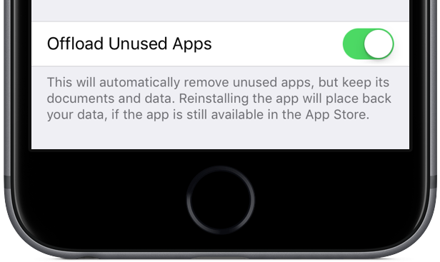 iOS 11 automatically offload unused apps