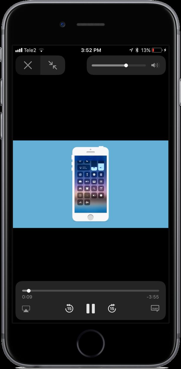 iOS 11's volume slider no longer covers fullscreen videos