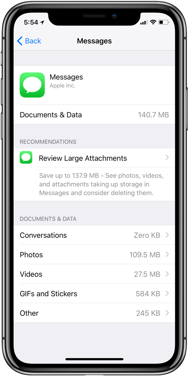 Apple Messages iCloud sync storage consumption
