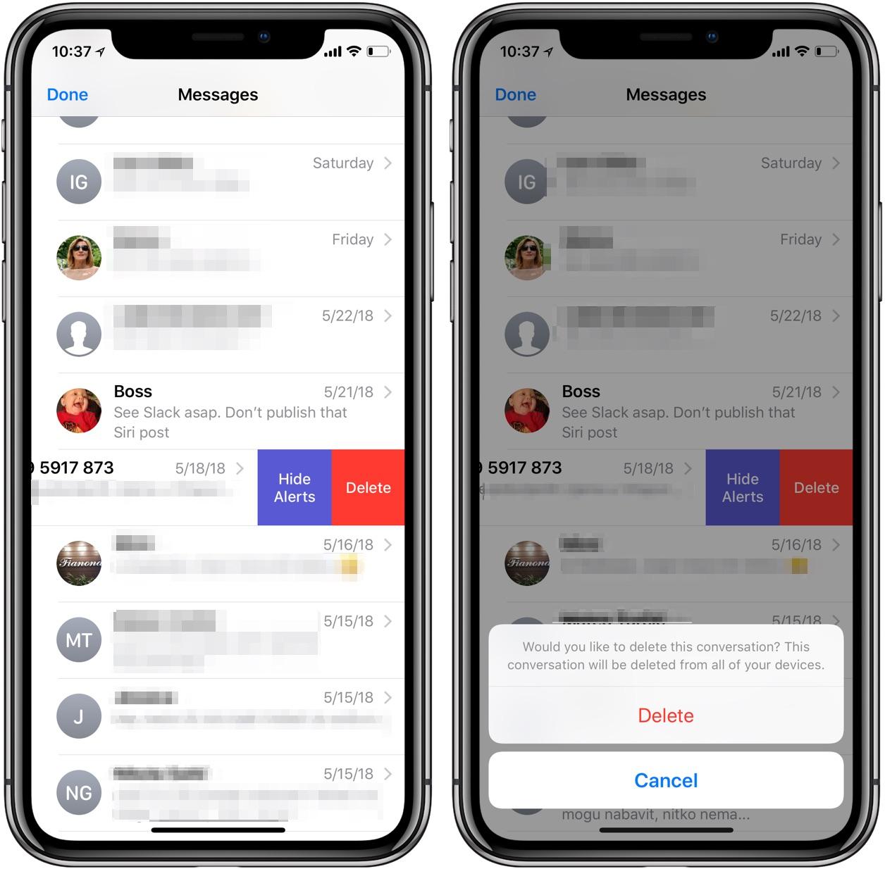 Mensajes de Apple sincronización de iCloud eliminar mensaje de conversación