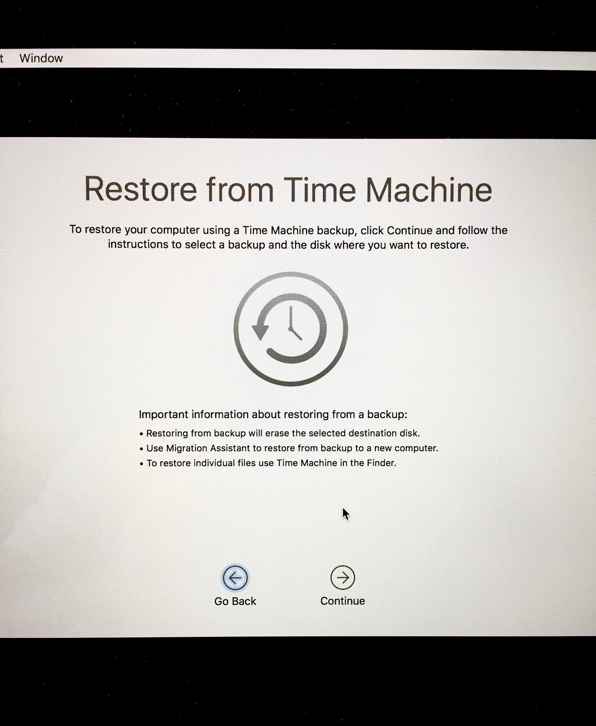 Time Machine Restore Backup