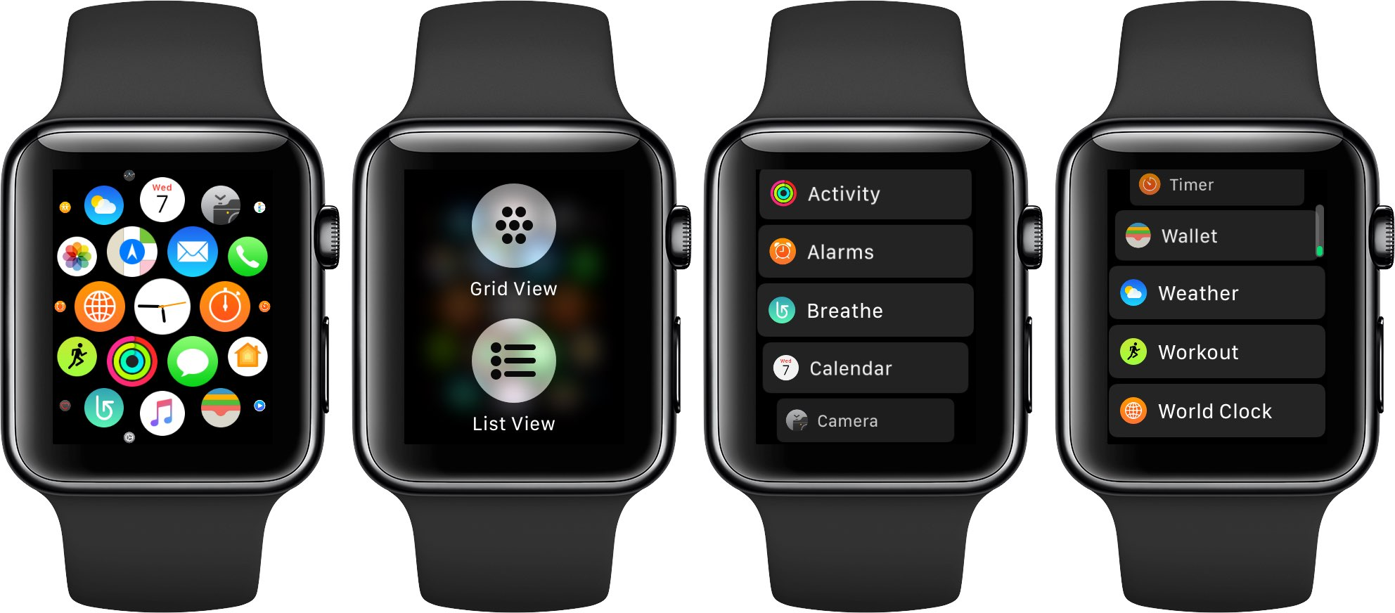 switch from grid to list view apple watch