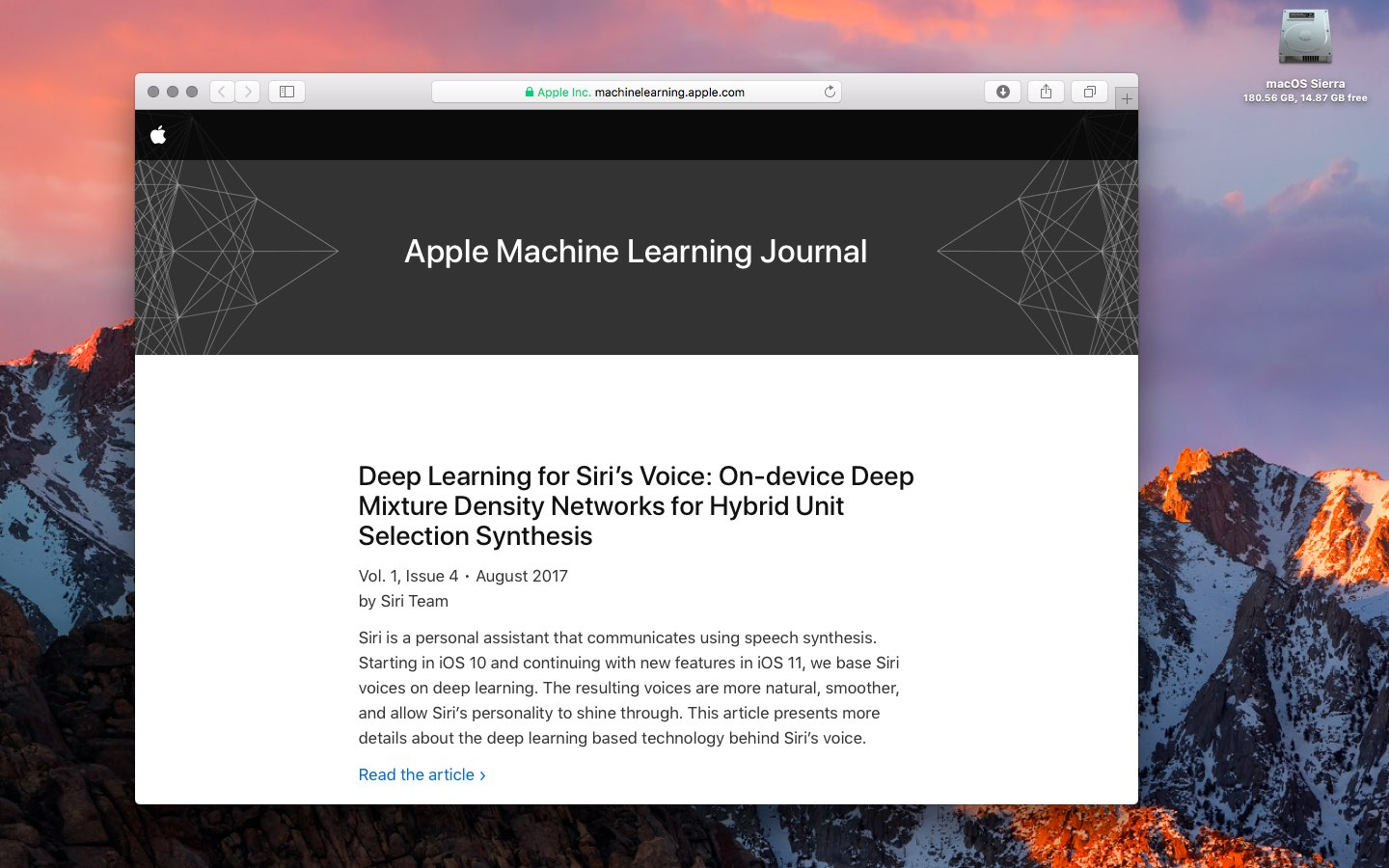 Apple's latest machine learning articles detail Siri's new synthetic