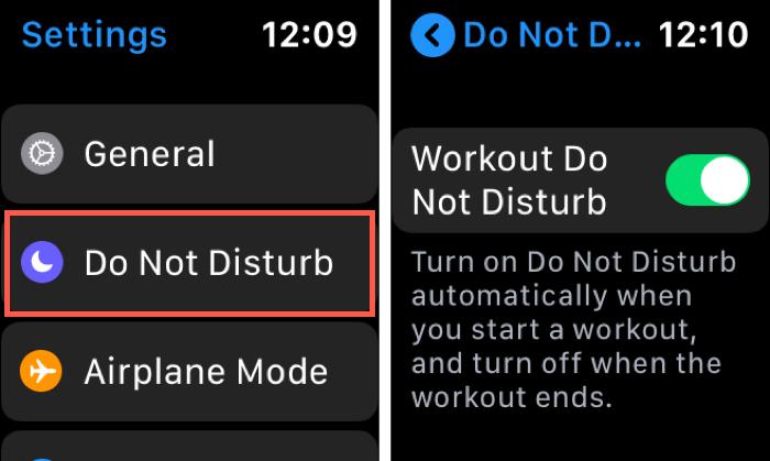 Workout Do Not Disturb Apple Watch Settings